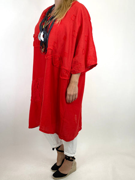 Lagenlook Nelly Twist Front Top in Red. code 91087