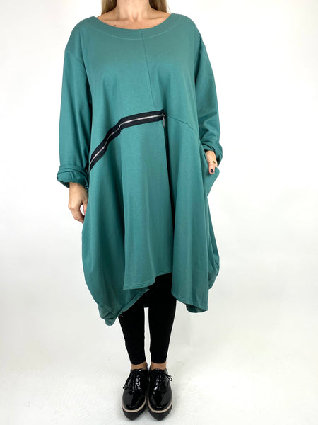 Lagenlook Canham Cotton Zip Side tunic in Lagoon. code 91113