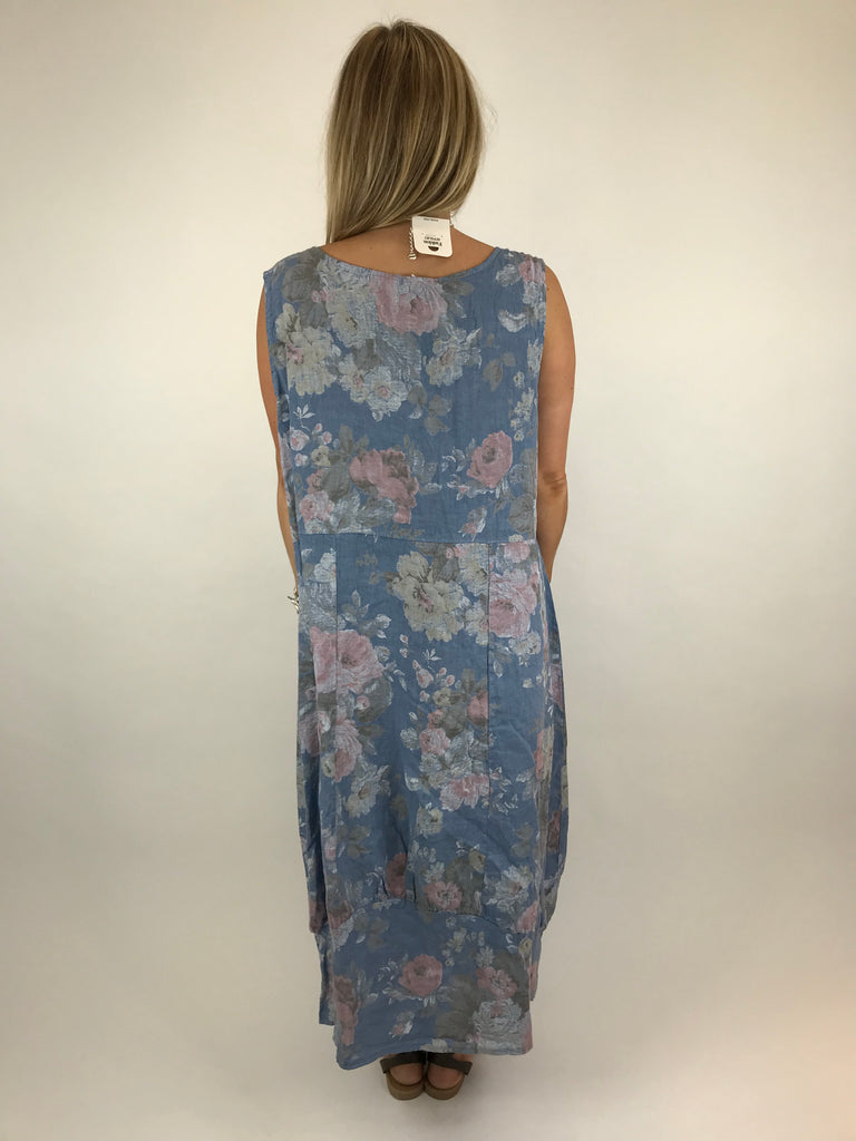 Lagenlook Emily Square neck linen Flower Print Dress in denim Blue. code 5697