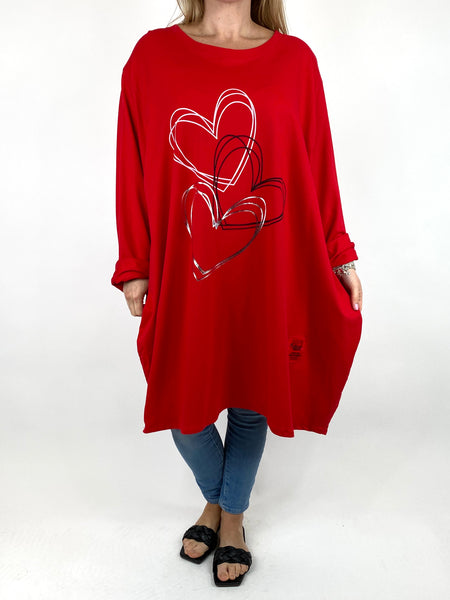 Lagenlook Heart Beats sweatshirt in Red. code 91191 - Lagenlook Clothing UK