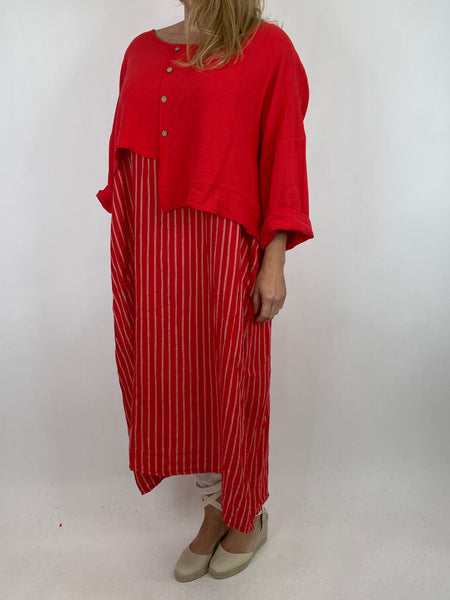 Lagenlook Lucy Stripe Over tank Tunic in Red. Code 88213