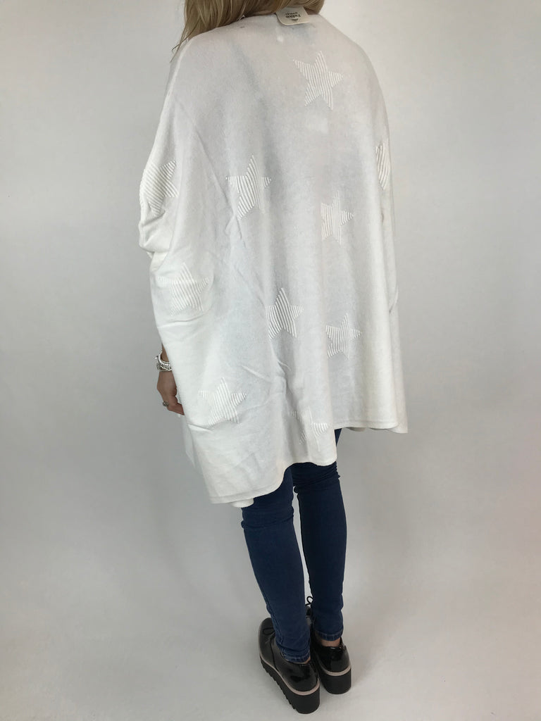 Lagenlook Calia Star Poncho Knit in Winter White. code 47352