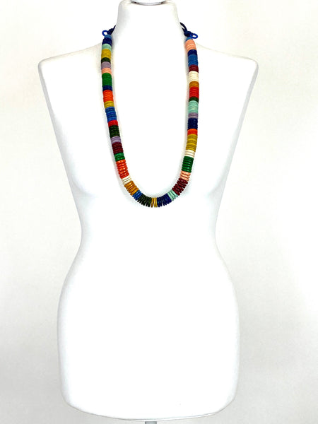 Lagenlook Rainbow multi Disc Long Necklace. code F569rainbow