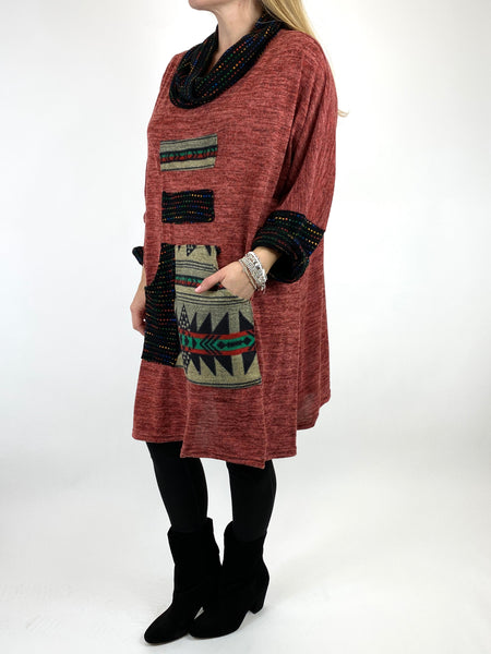 Lagenlook Nao Rainbow Aztec Top in Rust .code 9545 - Lagenlook Clothing UK