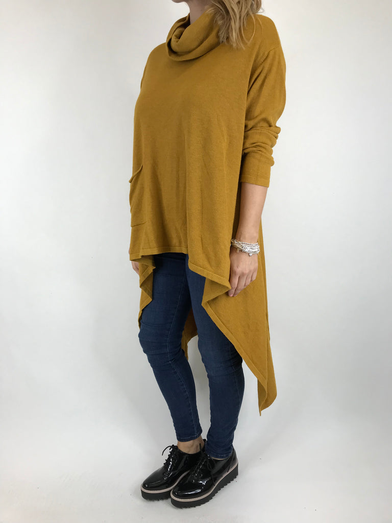 Lagenlook Cowel Neck Jumper in Mustard. code 5973