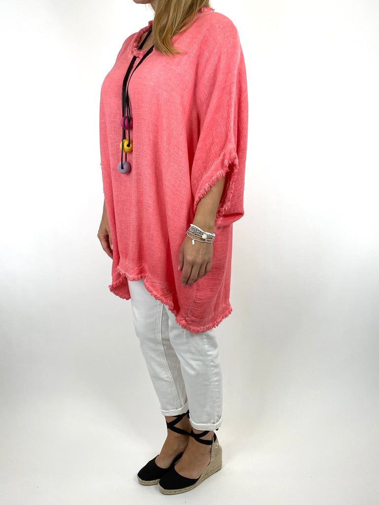 Lagenlook Marie Washed Fray Hem top in Coral. code 10322 - Lagenlook Clothing UK