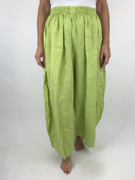 Lagenlook Penny wide Leg Linen Trousers in Summer Lime. code 9030