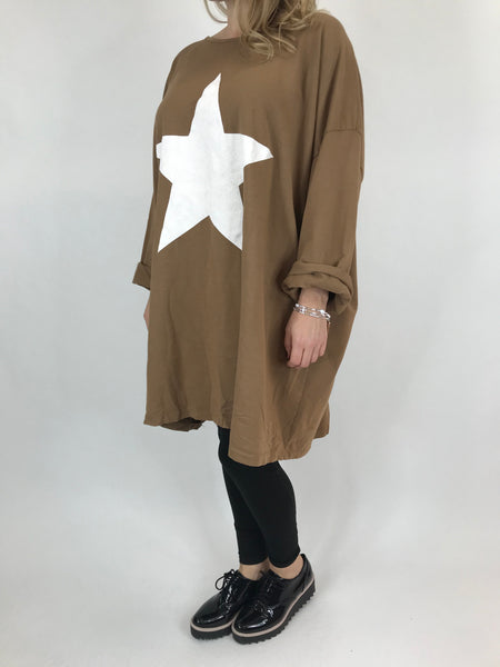Lagenlook Solo Star Print Sweatshirt Top Tunic in Camel. Code 9482