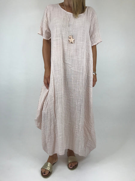 c2eacf8df41 Lagenlook Maria Pinstripe Summer Tunic Dress in Pale Pink. code 5769 ...