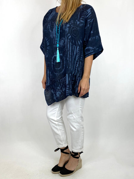 Lagenlook Tye-dye Top in Navy Regular Size. code 6688