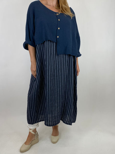 Lagenlook Lucy Stripe Over tank Tunic in Navy. Code 88213