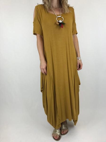 Lagenlook Long Plain Cold shoulder Tunic in Mustard. code 1026