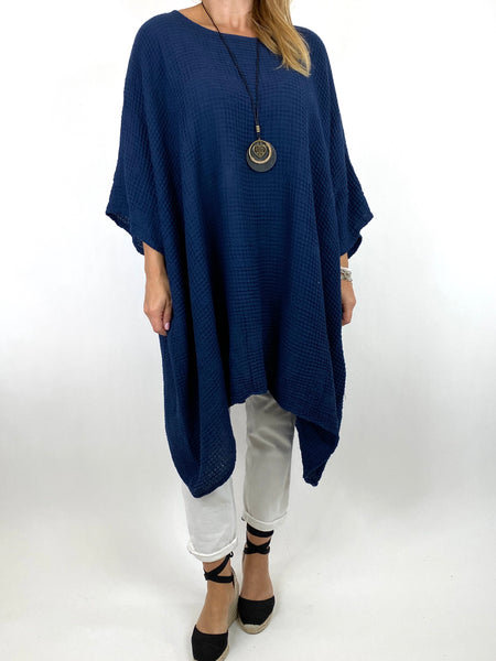 Lagenlook Nancy Cotton Waffle Necklace Top in Navy. Code 8550