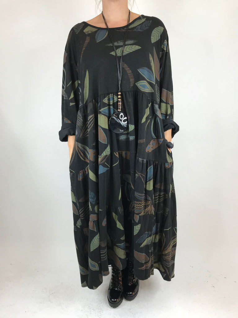 Lagenlook Made in Italy Winter Leaf Tunic in Black. code 9788
