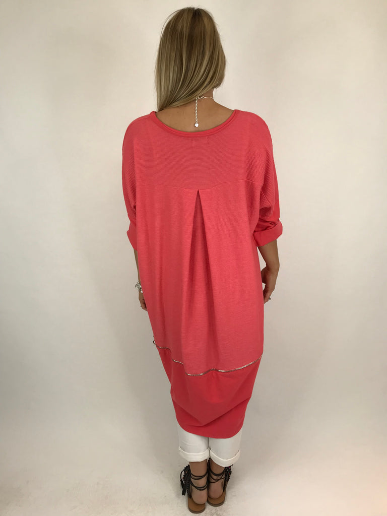 Lagenlook Zip Back Ribbed Top in Coral. code 5651