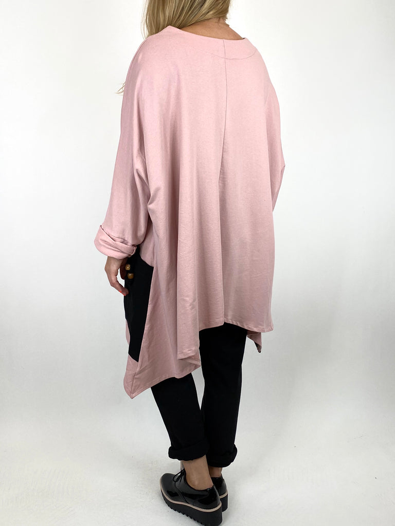 Lagenlook Sammy Jersey Bead Top in Pink. code 910881 - Lagenlook Clothing UK