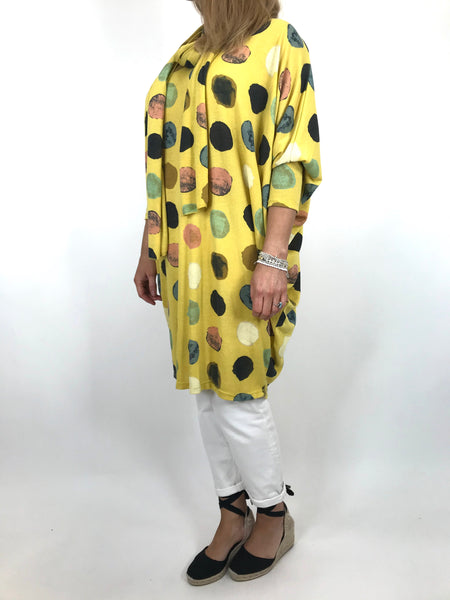 Copy of Lagenlook Odell Paint dot Scarf Top in Yellow. code 5147