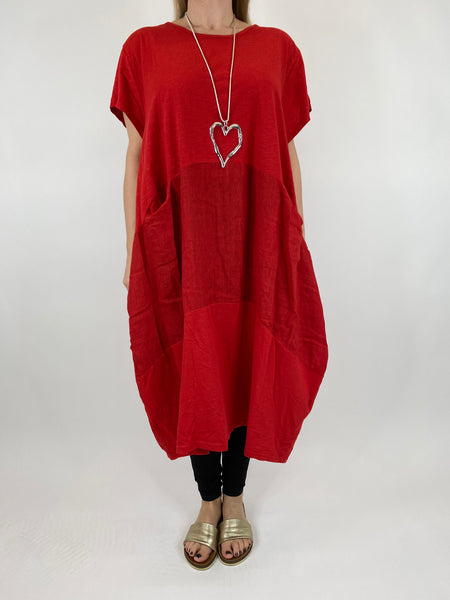 Lagenlook Layla Linen Panel Tee Tunic in Red. code 90301
