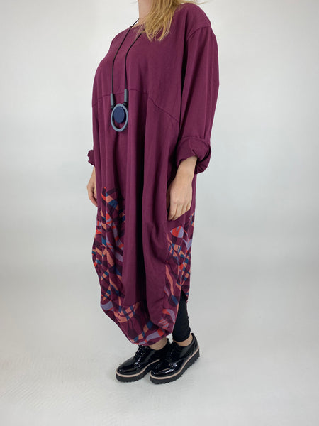 Lagenlook Wave Curve Hem Tunic in Wine. code 9977 - Lagenlook Clothing UK