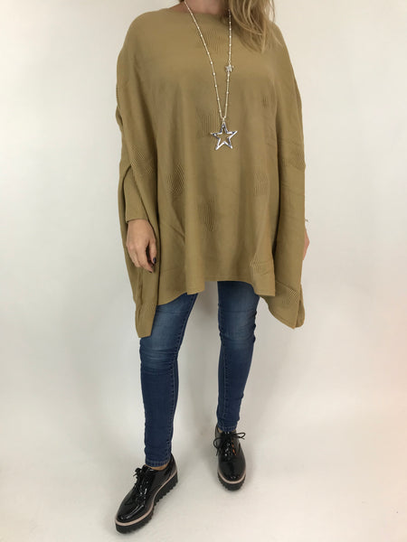 Lagenlook Calia Star Poncho Knit in Camel. code 47352
