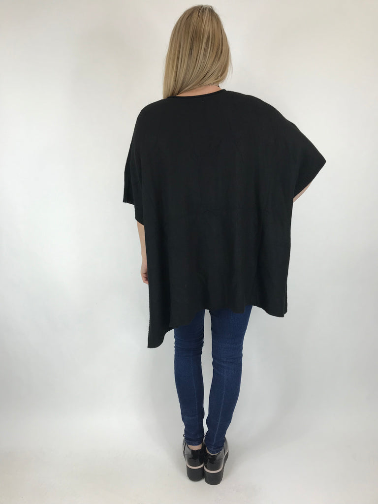 Lagenlook Cable Poncho Jumper in Black. code 5939