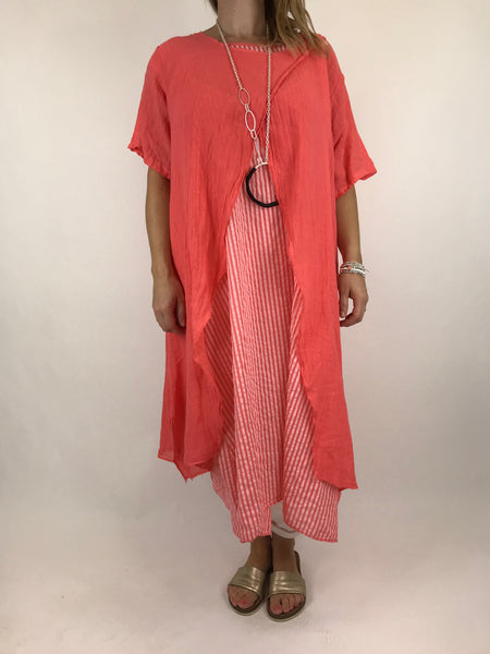 Lagenlook Sal 2 piece Stripe Tunic in Coral. code 5809
