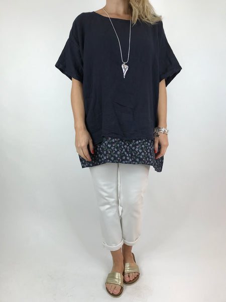 Lagenlook Ditsy Flower Hem Summer Top in Navy. code A1362