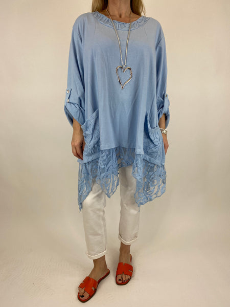 Lagenlook Alice Lace Hem Top in Sky Blue. Code 922011