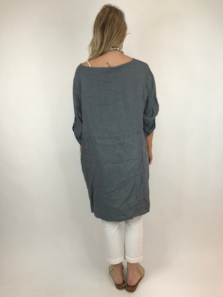 Lagenlook Hush Flower Pocket Linen Top in Charcoal .code 638c