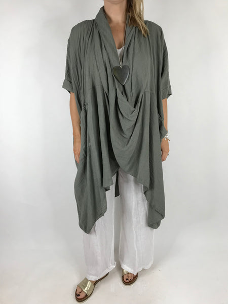Lagenlook Cotton Wrap Dress Top in Light Khaki. code 4990