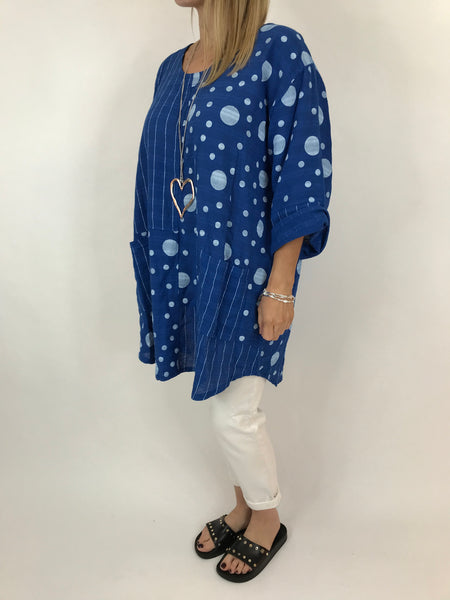 Lagenlook Milly Cotton Dot and Stripe Top in Royal Blue .code 90670