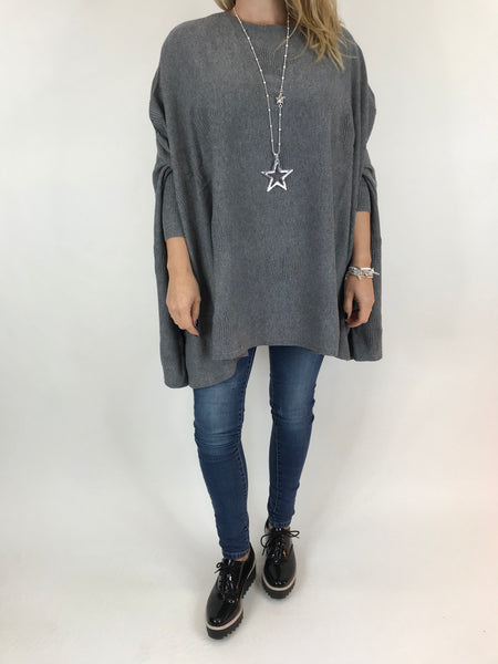 Lagenlook Calia Star Poncho Knit in Grey. code 47352