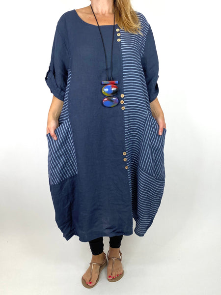 Lagenlook Claudia Button and Stripe Linen Tunic in Navy. code 10377