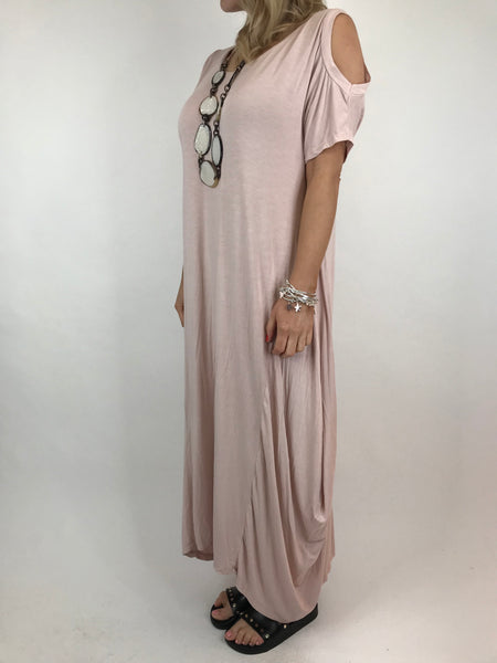 Lagenlook Long Plain Cold shoulder Tunic in Pale Pink. code 1026