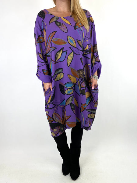 Lagenlook Cassie Winter Leaf Button Top in Purple. code 10015