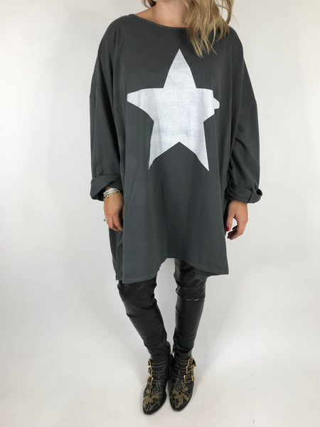 Lagenlook Solo Star Print Sweatshirt Top Tunic in Charcoal Grey. Code 9482 - Lagenlook Clothing UK