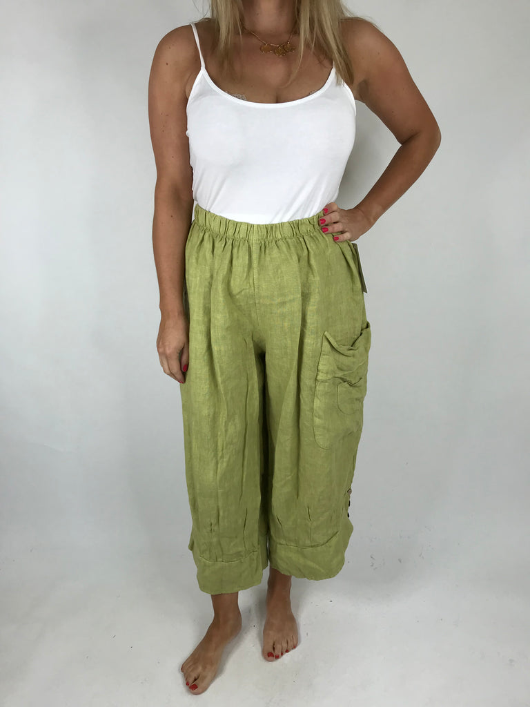 Lagenlook Cropped Linen Trouser in Lime. code 5229