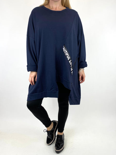 Lagenlook Langdon Tape Sweatshirt in Navy. code 91169
