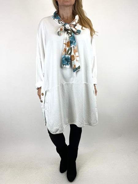 Lagenlook Alice Scarf Button Top in Winter White. code 10559