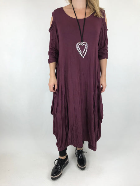 Lagenlook Alley Cold Shoulder Tunic in Plum. code 1026