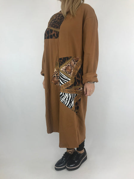 Lagenlook Donny Chain Print Patch Tunic in Rust. code AB610