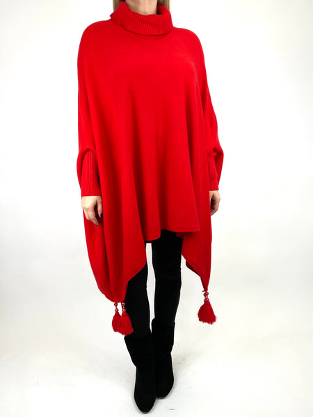 Lagenlook Melody Oversized Jumper in Red. code 2692 - Lagenlook Clothing UK