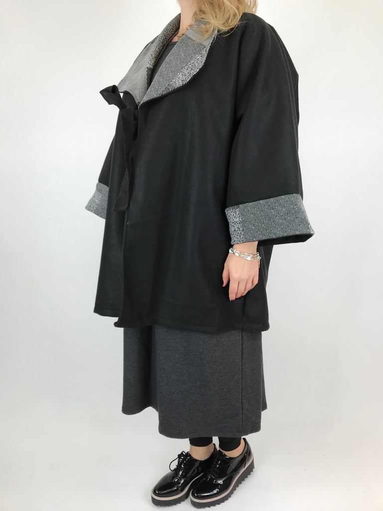 Lagenlook Marie Tie Jacket in Black. code 8013