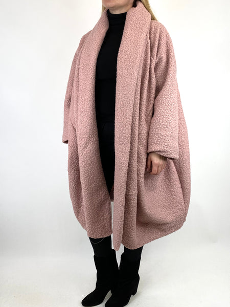 Lagenlook Bella Boucle Cocoon Coat in Winter Pink. code 66302 - Lagenlook Clothing UK