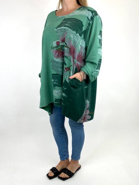 Lagenlook Hetty Flower Top in Green. code 90646 - Lagenlook Clothing UK