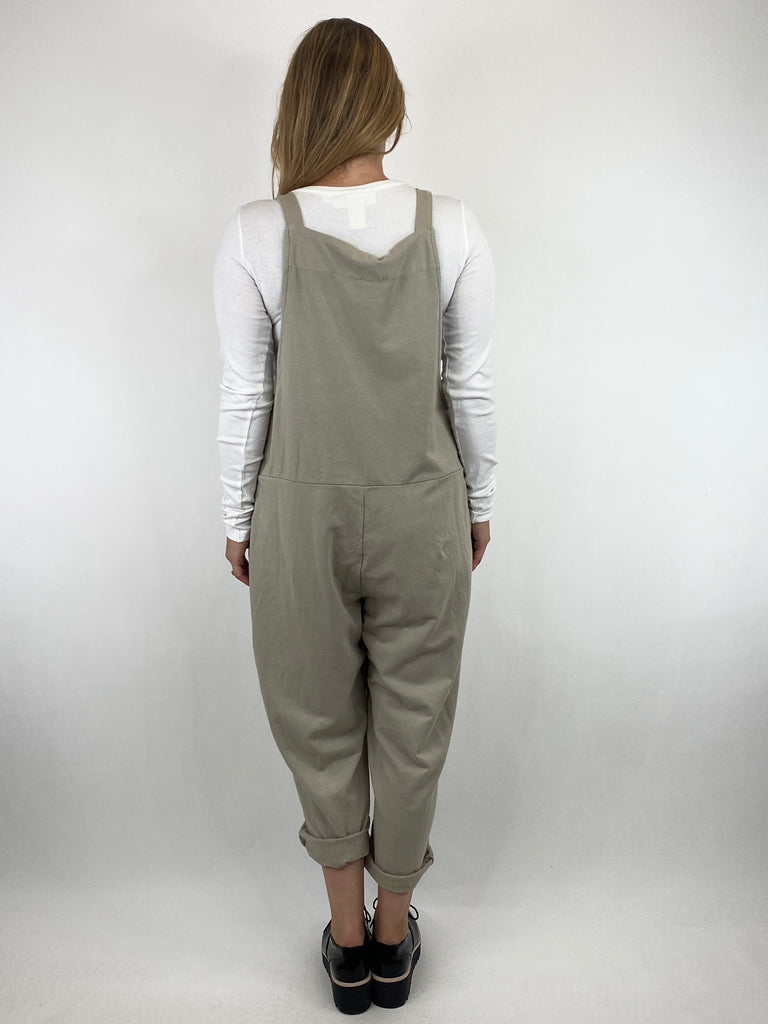 Lagenlook Dakota PlainMade in Italy Dungarees in Stone. code 6777 - Lagenlook Clothing UK