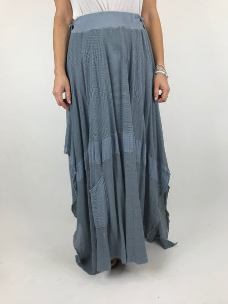 Lagenlook Mesh Hanky Hem Skirt in Denim.code 5833