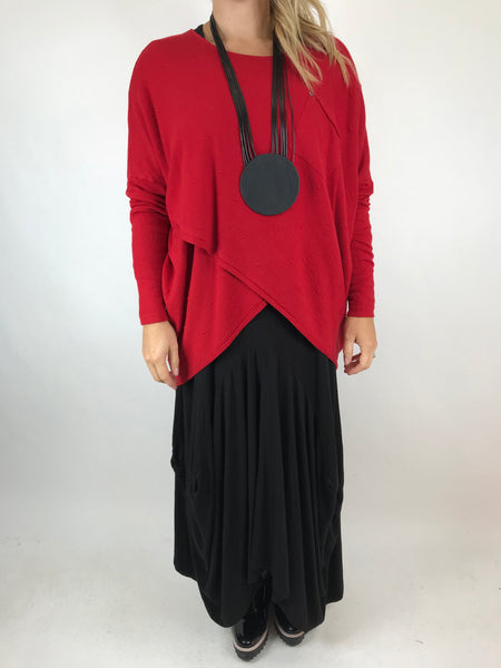 Lagenlook Megan Fold Knit in Red. Code 5369