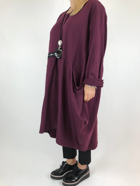 Lagenlook Canham Cotton Zip Side tunic in Wine. code 9429