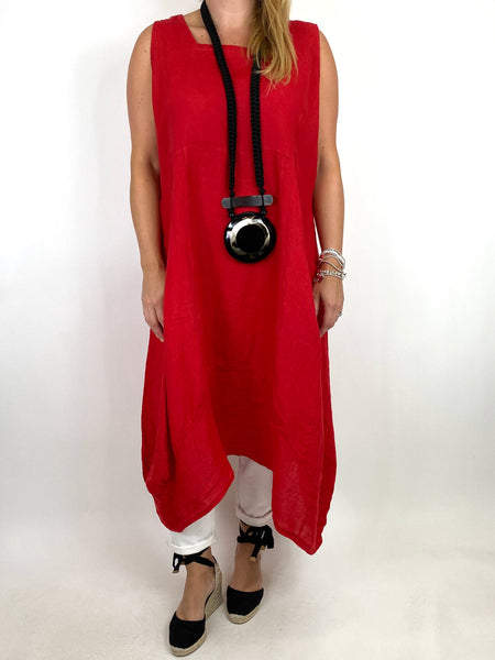 Lagenlook Bella Linen Square neck tunic in Red. code 8262